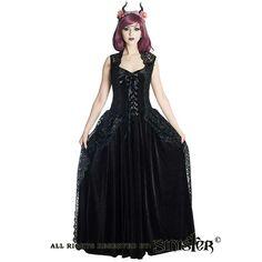 Eloise middeleeuws lange zwarte fluwelen gothic jurk met kanten neklijn - Gothic Halloween