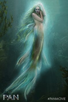 A beautiful illustration of one of Neverland's mermaids. In the film, Pan, actress Cara Delevingne plays these mystical creatures.