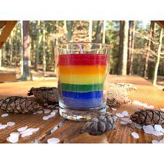 #rainbow #candle Shot Glass, Rainbow, Candles, Tableware, Rain Bow, Rainbows, Dinnerware, Tablewares, Candy