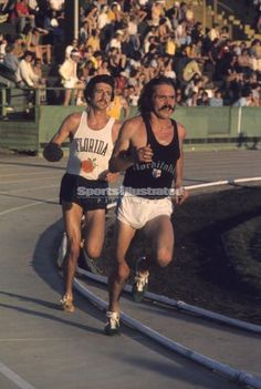 Pre's last race. Taking the lead from Frank Shorter on May 30, 1975 at Hayward Field, hours before he was killed in his MGB.