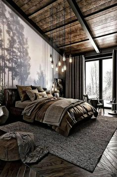 For those looking to make their bedroom look good, adopting a modern bedroom design style isn't actually a bad idea. Here are some easy ways you can redo your bedroom - Home Decor Dark Cozy Bedroom, Bedroom Modern, Bedroom Small, Bedroom Rustic, Industrial Bedroom Design, Minimalist Bedroom, Minimalist Style, Industrial Style, Contemporary Bedroom Decor