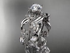 platinum diamond leaf and vine wedding by anjaysdesigns on Etsy, $1,975.00