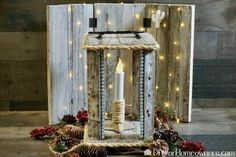 Using precut pallet wood from the craft store, we made a quick lantern for a battery powered candle. This uses simple tools and relies on hot construction adhes… Porch Lanterns, Tall Lanterns, Wooden Lanterns, Wood Pallets, Pallet Wood, Concrete Stool, Eucalyptus Candle, Mother Daughter Projects, Diy Dining Table