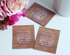 24 Save the date wedding cards, magnetic save the date cards, wood effect invite £18.00