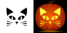 Easy cat pumpkin carving stencil. Free PDF pattern to download and print at http://pumpkinstencils.org/download/easy-cat-pumpkin-stencil/