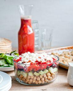 Cafe Johnsonia: Layered Greek-Style Chickpea Salad Recipe with Oregano Vinaigrette
