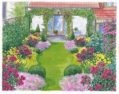 bilder zur vorgartengestaltung idee steine kiesel blumen pflanzen, Gartenarbeit ideen
