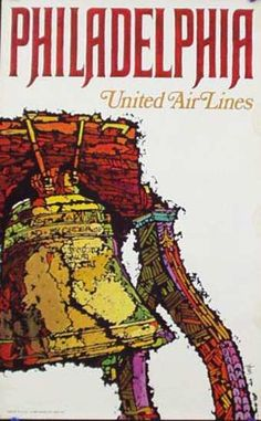 United Air Lines - Philadelphia - United Air Lines classic travel poster from 1968 Vintage Travel Posters, Vintage Airline, Poster Vintage, Travel And Tourism, Air Travel, Tourism Poster, United Airlines, Graphic Design Posters, State Art