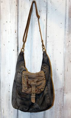 BOHEME Borsa in pelle e Denim Vintage MADE in di LaSellerieLimited