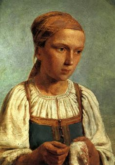 A Peasant Girl with Embroidery, 1843  Alexey Venetsianov