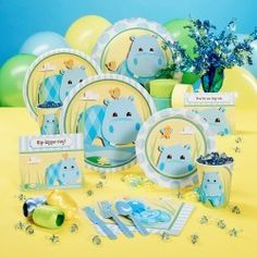 Hippo Blue Baby Shower Deluxe Party Pack for 8
