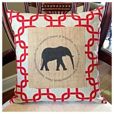 Alabama pillow featuring elephant on burlap. Find us on FB: Pillow Talk Tuscaloosa