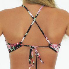 Swimalicious CHARLOTTE – High Neck Bikini Tank Top in Vintage Black Floral Print - Back View