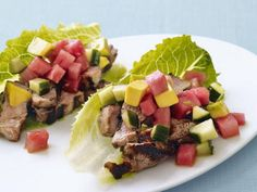 Get Watermelon Pork Tacos in Lettuce Shells Recipe from Food Network