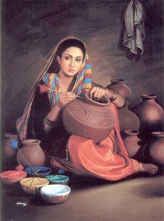 The Richest Punjabi Culture Paintings Part 2 India Painting, Woman Painting, Punjab Culture, Culture Of Pakistan, Rajasthani Painting, Rajasthani Art, Pakistani Culture, Pakistani Girl, Art Village
