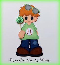 ELITE4U lollipop boy Kids premade paper piecing scrapbooking page album  ~Paper Creations by Mindy
