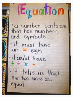 Equation anchor chart, mentor text and extension idea.