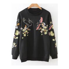SheIn(sheinside) Black Embroidery Round Neck Sweatshirt ($24) ❤ liked on Polyvore featuring tops, hoodies, sweatshirts, black, pullover sweatshirt, vintage tops, embroidered sweatshirts, round neck sweatshirt and pullover top