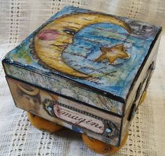 Diane Salter-wow love this box and she is talented! Cigar Box Diy, Cigar Box Crafts, Altered Cigar Boxes, Altered Tins, Diy Box, Altered Art, Painted Boxes, Wooden Boxes, Cigar Box Projects