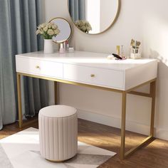 Hansel Modern Computer Desk with Drawers, Makeup Vanity Console Table for Home Office, White Gold Decor, Furniture, Home Office Desks, Home Office Decor, Interior, Desk Essentials, Desk With Drawers, Bedroom Decor, Bedroom Desk