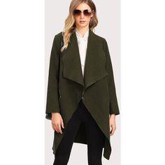 SheIn(sheinside) Asymmetric Zip Shawl Collar Coat (48 BAM) via Polyvore featuring outerwear, coats, army green, cotton coat, asymmetrical zipper coat, army green coat, long waterfall coat i olive green coat