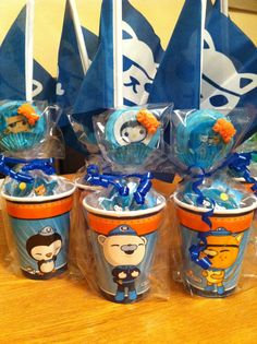 Octonauts party bags with cake pops, sweets and favours