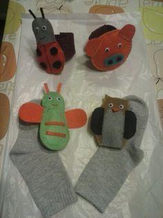 Sonajeros para muñeca y pies, con figuras de fieltro.