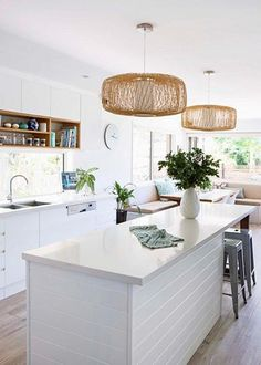 Idea for the island bench? Natural tones in the light shades, like the shelf above a narrow window in kitchen good idea).