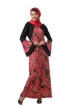 50 Gambar Model Baju Batik Gamis Kombinasi Terbaru ~ Sealkazz Blog Batik Fashion, Hijab Fashion, Fasion, Dress Batik Kombinasi, Batik Dress, Formal Looks, Party Dress, High Neck Dress, Saree