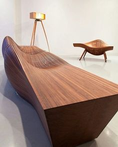 Furniture or art? 'Steam bench by Bae Sehwa via bench by Bae Sehwa (KR) Bench Furniture, Chair Bench, Unique Furniture, Wooden Furniture, Furniture Design, Furniture Online, Muebles Art Deco, Bench Designs, Take A Seat