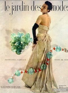 Balenciaga (Couture) 1948 Evening Gown, Van Cleef & Arpels Jewels