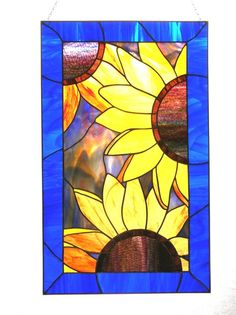 Van Gogh Sunflowers Stained Glass Panel by stainedglassturtle, $475.00