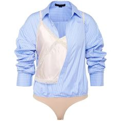 Alexander Wang Pinstripe shirt panel satin bodysuit ($895) ❤ liked on Polyvore featuring intimates and shapewear