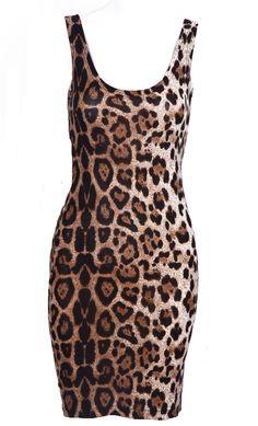 Leopard Scoop Neck Sleeveless Backless Dress - Sheinside.com
