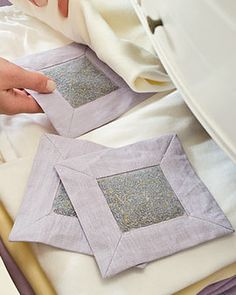 Great idea! Lavender Drawer Sachets - linen and mesh squares filled with dried lavender buds.