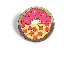 Last Valentine Mixed Pizza Lapel Pin Nickel Plated Color Red Enamel Pin