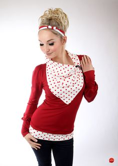 "Longsleeves - MEKO ""Lone"" Longsleeve Shirt Rot Damen Punkte - ein Designerstück von meko bei DaWanda"