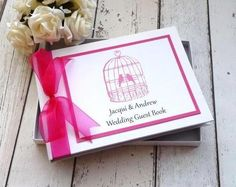 Classic frame personalised wedding guest book birdcage
