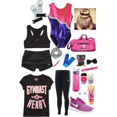 A fashion look from August 2015 by natalieyahnke featuring NIKE, scunci, Victoria's Secret, claire's and CamelBak Gymnastics Wear, Gymnastics Equipment, Gymnastics Training, Gymnastics Workout, Gymnastics Outfits, Gymnastics Leotards, Gymnastics Stuff, Olympic Gymnastics, Olympic Games