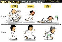 Marathon till the end of ramadhan Muslim Quotes, Islamic Quotes, Coran, Islam Quran, Sufi, Muslim Women, Islamic Art, Ramadan, Religion