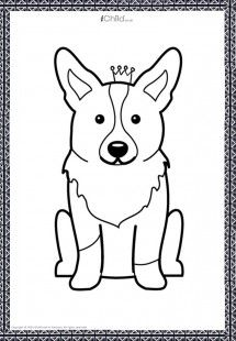 A royal Queen Corgi for your own little prince or princess to colour in!