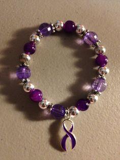 Multi Purple Alzheimer's Awareness Stretch Bracelet
