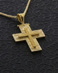 Χειροποίητος σταυρός χρυσός Κ18 Messianic Judaism, Christian Symbols, Baptism Ideas, Crosses, Fashion Designers, Christianity, Give It To Me, Photoshop, Jewellery