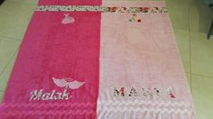 2 pool towels designed for a fashion designet mom and her model daughter