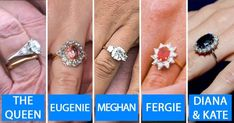 [Video] The Queen, Kate Middleton, Meghan Markle, Princess Eugenie – Royal Engagement Rings. ALL the engagement rings for all the modern British Royals. Royal Rings, Royal Crown Jewels, Royal Crowns, Royal Jewelry, Jewellery, Kate Middleton Ring, Kate Middleton Engagement Ring, Princess Kate Middleton, Meghan Markle Ring
