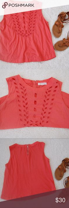 Zara W&B Collection Coral Perforated Tank M Very good Condition. Shoulder to Hem: 22 inches. Underarm to underarm: 19 inches Zara Tops Tees - Short Sleeve