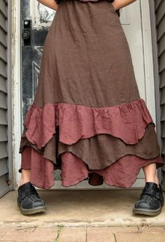 Brown Linen Wavy Ruffle Skirt M by sarahclemensclothing on Etsy, $110.00