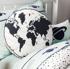 The Take Off world cushion is a fantastic decorative bedroom accessory for the Take Off bedding set from the Whimsy contemporary children's bed linen collection and is perfect for a fun space bedroom theme. The Take Off oblong cushion is made f Childrens Bed Linen, Bed Linen Design, Best Bedding Sets, Blue Cushions, Linen Bedding, Bed Linens, Bedroom Accessories, Bed Styling, Bedroom Themes