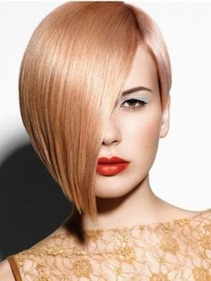 Peach blonde by Schwartzkopf. Straight hair. Short.  Angled cut. Can be combed to side or partial face cover.   ***** Referenced by Web Hosting With A Dollar (WHW1.com): WebSite Hosting - Affordable, Reliable, Fast, Easy, Advanced, and Complete.©