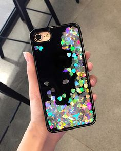 Cute iPhone case with iridescent hearts that shift about while you move. iphone7/iphone7 plus iphone6/iphone6s iphone6 plus/ iphone6s